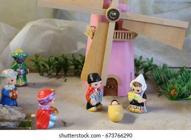 Dutch nativity scene with Holland windmill and the Three Kings who bring gifts