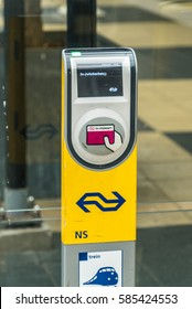 Dutch ns ov card check in-out station at Amstel station, Amsterdam, February 22th, 2017