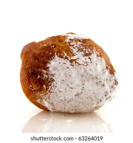 Dutch oliebol with sugar isolated over white