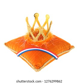 Dutch Orange royal velvet pillow with crown isolated over white background