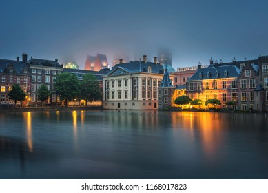 Dutch Parliament Building , Mauritshuis art museum and court building complex Binnenhof located in the City of Den Haag, Netherlands. Long exposure.