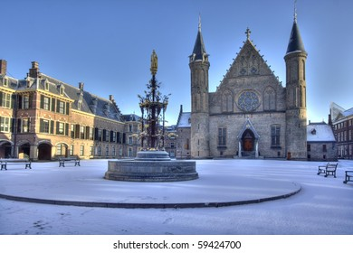 Dutch Parliament in The Hague in snow