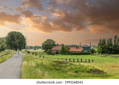 Dutch polder landscape during sunset Alphen aan den Rijn with a dike and a lower polder with a farm between beautifully mature trees against an orange-colored sky by the setting sun