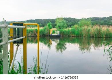 Dutch polder landscape in Ooij, Holland, The Netherlands, high water emergency flood area