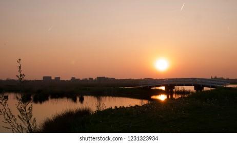 Dutch polder sunset