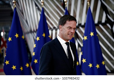 Dutch Prime Minister Mark Rutte arrives for the Informal meeting of the 27 European Heads of States of Governments in Brussels, Belgium, 23 February 2018.
