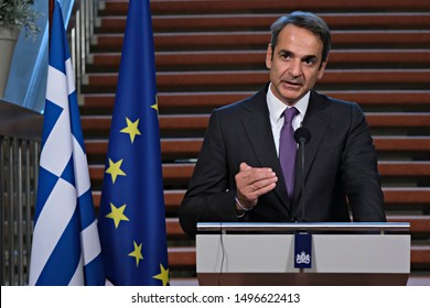 Dutch Prime Minister Mark Rutte and Greek Prime Minister Kyriakos Mitsotakis attend a joint news conference in The Hague, Netherlands on Sep. 3, 2019.