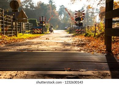 Dutch Railroad Crossing in Autumn
