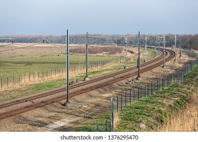 Dutch railway through National Park Oostvaardersplassen between Lelystad and Almere