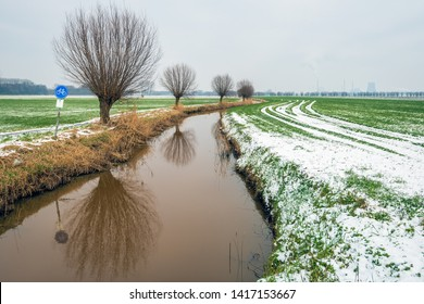 Dutch rural landscape in wintertime. The photo was taken near the village of Drimmelen, North Brabant. Along the Breede Vaart creek is a narrow bicycle path and a row of trees reflected in the water.