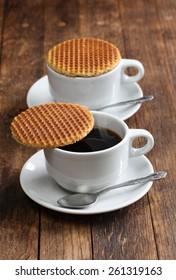 dutch stroopwafel, caramel waffle and coffee
