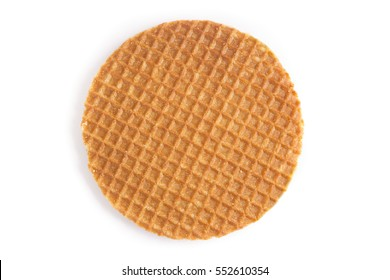 Dutch stroopwafel cookie or caramel waffle isolated on white.