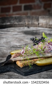 Dutch style herring with dill, red onion and red pepper