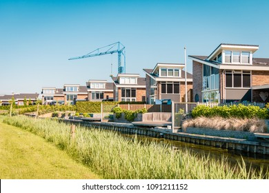 Dutch Suburban area with modern family houses,newly build modern family homes in the Netherlands