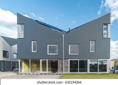 Dutch Suburban area with modern family houses,newly bould modern family homes in the Netherlands
