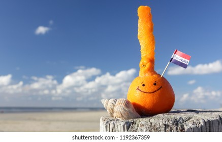 Dutch traditional festival. Kings day - Koningsdag. Orange and Dutch mini flag on the beach