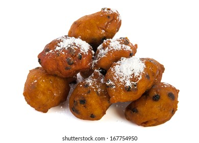 Dutch traditional oliebollen isolated over white background