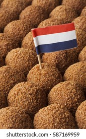 Dutch traditional snack bitterballen full frame with a dutch flag cocktail stick
