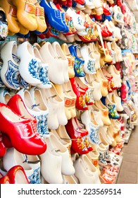 Dutch traditional wooden shoes in an Amsterdam shop