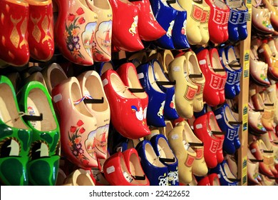 Dutch traditional wooden shoes, clogs, symbol of Netherlands.