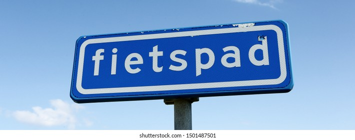 Dutch traffic road sign for bicycle path or cycle lane (Dutch: fietspad)