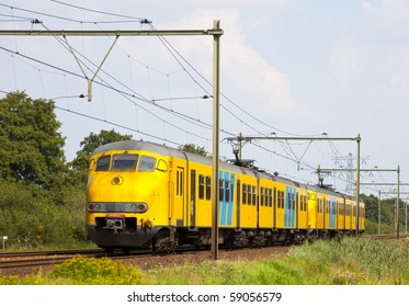dutch train is a typical dutch landscape