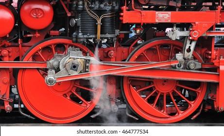 Dutch VSM steam locomotive train wheels in Beekbergen (the Netherlands)