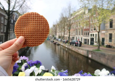 Dutch waffle with the beautiful canal