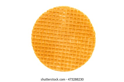 Dutch waffle called a stroopwafel isolated on a white background