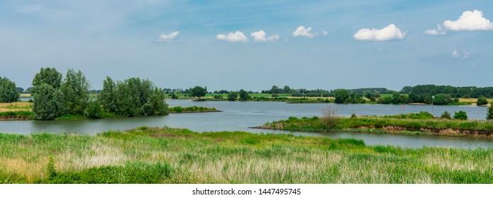 Dutch water landscape between Vianen and Lexmond. River Lek, The Netherlands