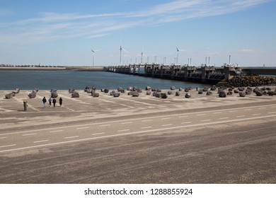 Dutch water management, Oosterschelde dam sea weir with free flow ability for ebb and flow, people sightseeing
