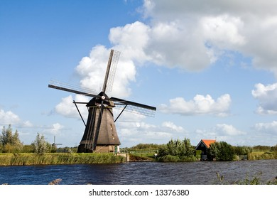 Dutch Windmill with clouds
