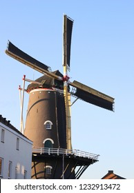Dutch windmill De Kroon, full view, located in district Klarendal in Arnhem, the Netherlands