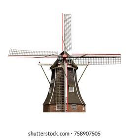 Molino de viento holandés aislado