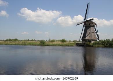 A Dutch windmill near Kinderdijk, The Netherlands