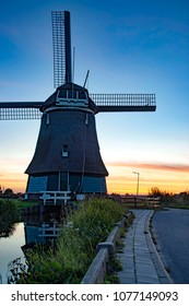 Dutch Windmill outside Amsterdam, Holland, Netherlands at sunset