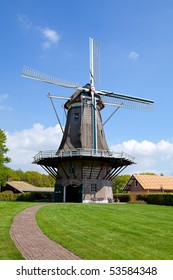 Dutch windmill in sunshine near the village Appel and Nijkerk