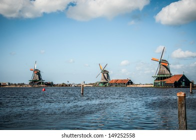 Dutch Windmill in Zaanse Schans in the Netherlands
