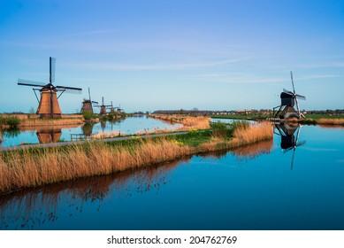 The dutch windmills at Kinderdijk, an UNESCO world heritage site.
