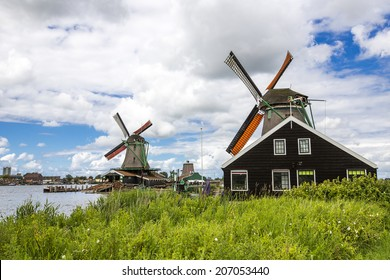 Dutch windmills near Amsterdam, Netherlands.