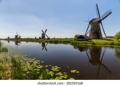 Dutch windmills near Rotterdam.