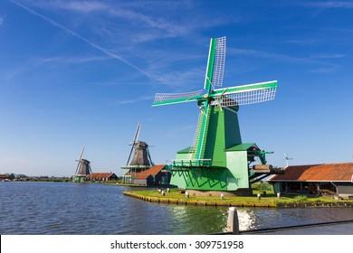 Dutch windmills Zaanse Schans, Amsterdam, Netherlands