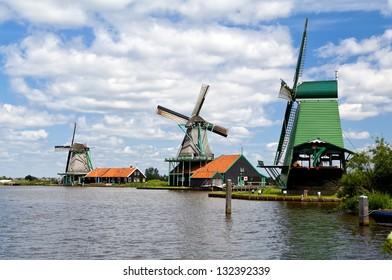 Dutch windmills in Zaanse Schans, Holland