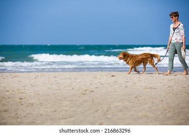 Dutch woman walking at the beach in Zeeland, Netherlands, on a bright summer day, playing with the dog having fun