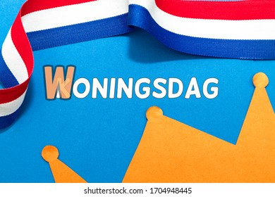 Dutch words Koningsdag and Woningsdag, concept for the cancellation of the Dutch fest. Room for copy.
