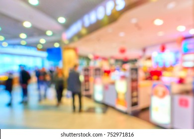 Duty free shop in airport out of focus  - defocused background