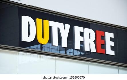 Duty Free shop sign inside Terminal 3, Malaga airport, Malaga, Malaga Province, Costa del Sol, Andalucia, Spain, Western Europe.