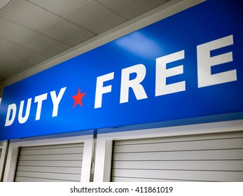 Duty Free sign at an airport store