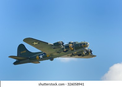 DUXFORD CAMBRIDGESHIRE UK 20 August 2015: Historic American flying fortress in flight