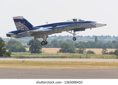 Duxford, Cambridgeshire, UK, 6th July 2018: Canadian F-18 fighter landing at Duxford airshow